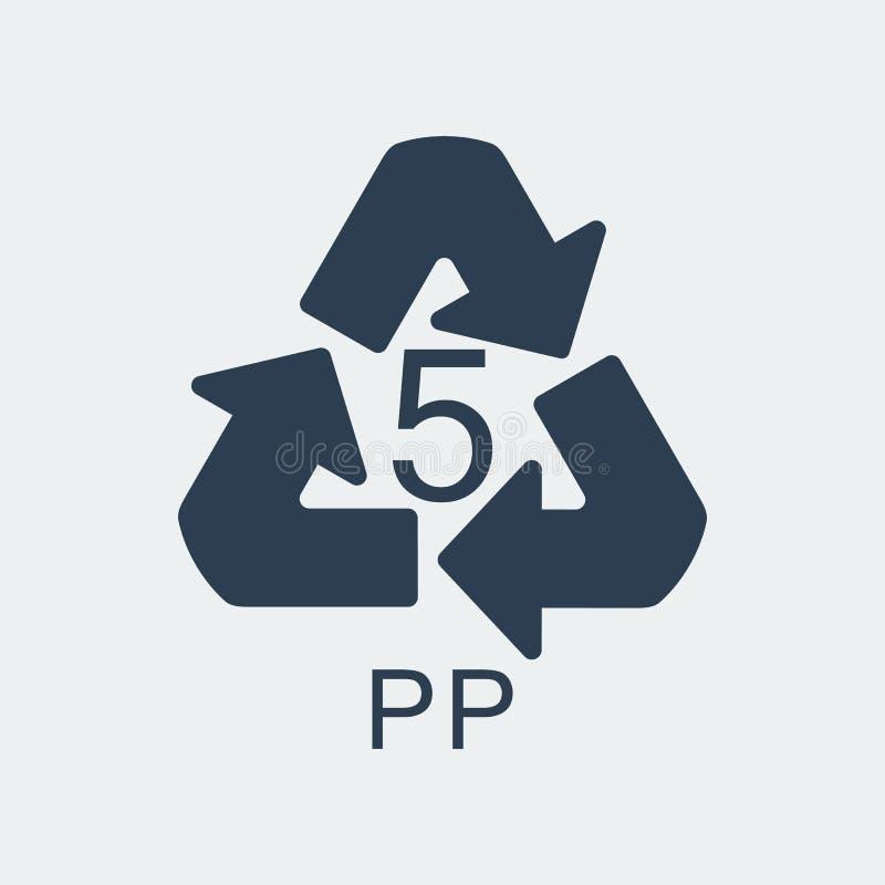 Klingeryt przetwarza symbol PP 5, Zawija klingeryt, etykietka również zwrócić corel ilustracji wektora royalty ilustracja