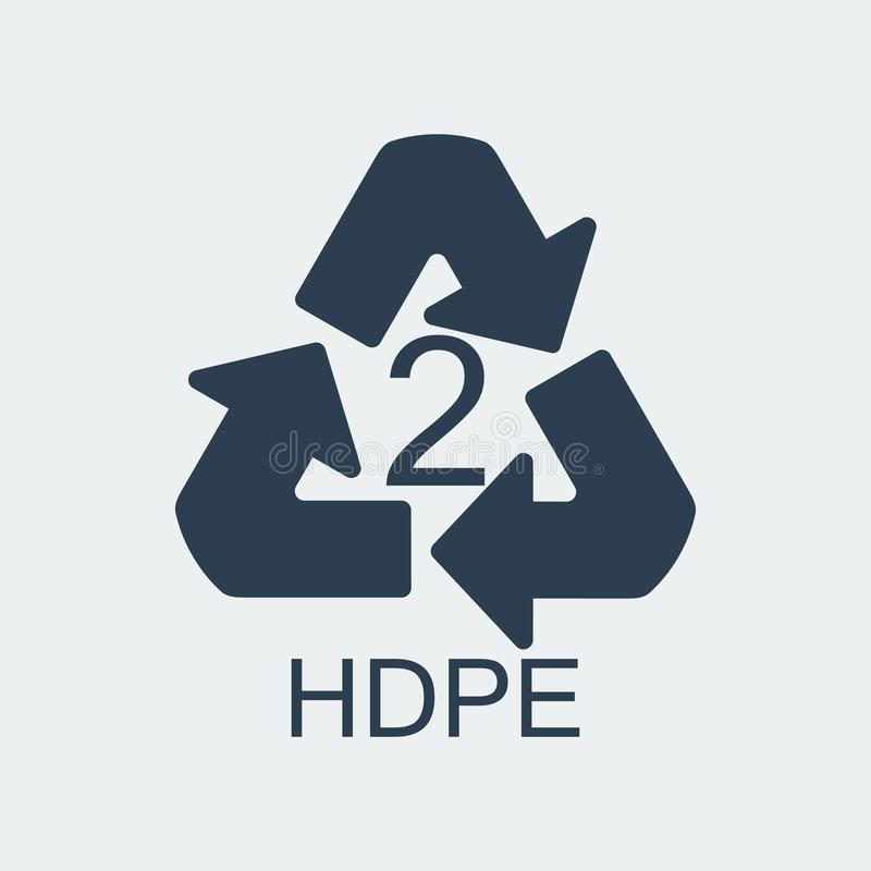 Klingeryt przetwarza symbolu HDPE 2, Zawija klingeryt, etykietka również zwrócić corel ilustracji wektora ilustracji