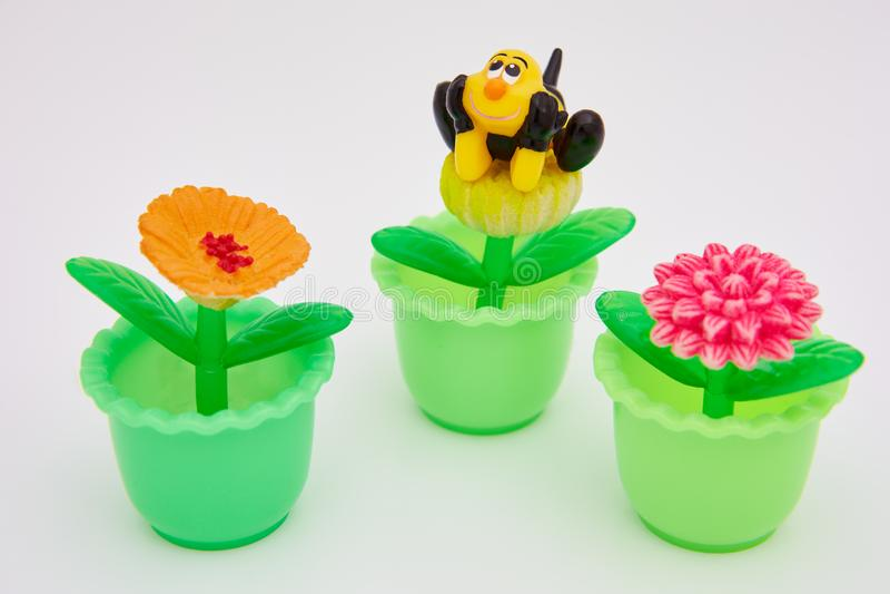 Klingeryt zabawki kwiaty fotografia stock