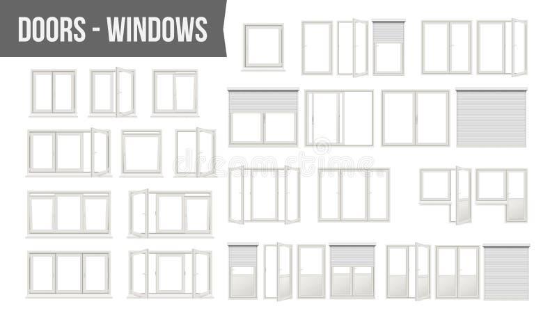 Klingerytu PVC Windows drzwi Ustawiający wektor Różni typ Rolkowej story żaluzje Rozpieczętowany i Zamknięty Frontowy widok Domow ilustracji