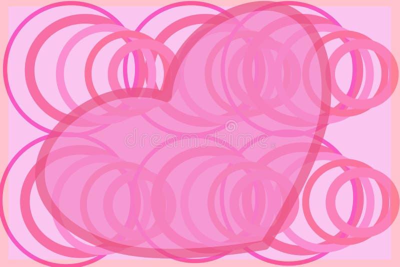 Klingerytu różowy serce z zawijasem okrąża retro ilustrację obraz royalty free