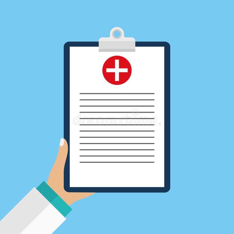 Kliniczny rejestr, recepta, medycznego checkup raport, ubezpieczeń zdrowotnych pojęcia Schowek z listą kontrolną i medycznym krzy ilustracji
