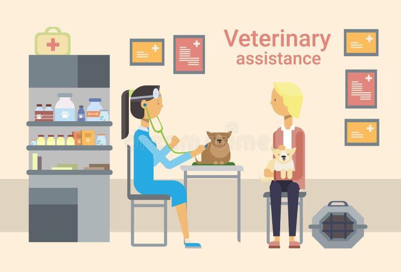 Kliniek van medische Artsen de Veterinaire Cure Animal In van Veterinaire Hulp vector illustratie