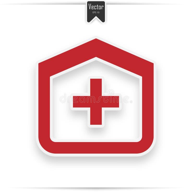 Kliniek vectorpictogram Medisch het Ziekenhuis rood Vlak Pictogram royalty-vrije illustratie