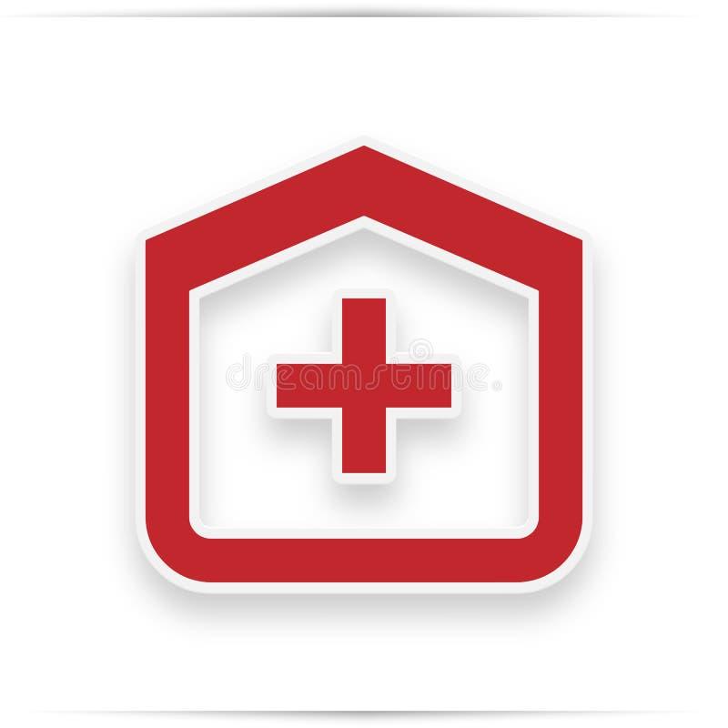 Kliniekpictogram Medisch het Ziekenhuis rood Vlak Pictogram stock illustratie