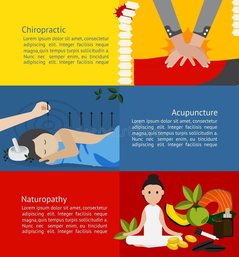 Klinik för alternativ medicin och behandlingför patient royaltyfri illustrationer