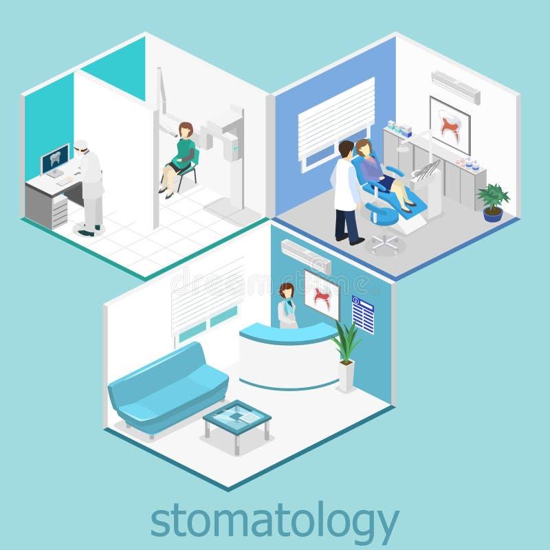 klinika stomatologicznej płaski wnętrze dentysty ` s biuro ilustracja wektor