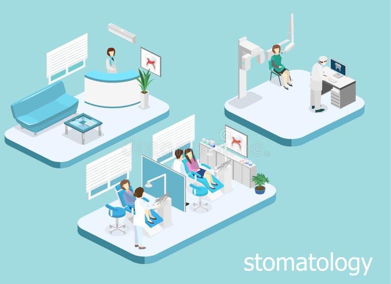 klinika stomatologicznej płaski wnętrze dentysty ` s biuro royalty ilustracja