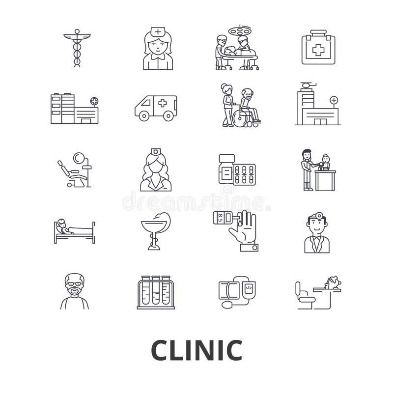 Klinika, szpital, medyczny pokój, lekarki biuro, medycyna, opieka zdrowotna, operacj kreskowe ikony Editable uderzenia mieszkanie ilustracja wektor
