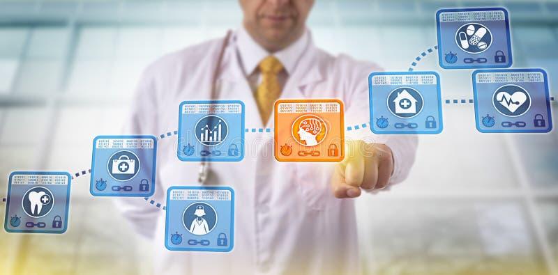 Kliniker, der AI APP-Block in Blockchain vorwählt stockbilder