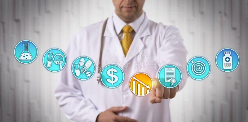 Kliniker, der Preis der anerkannten Droge senkt lizenzfreies stockbild