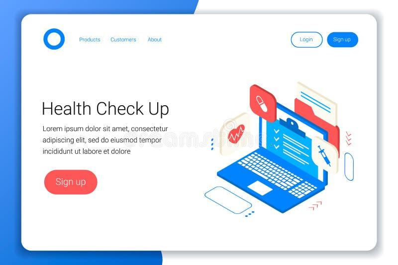 Klinikgesundheits-check herauf Konzept lizenzfreie abbildung