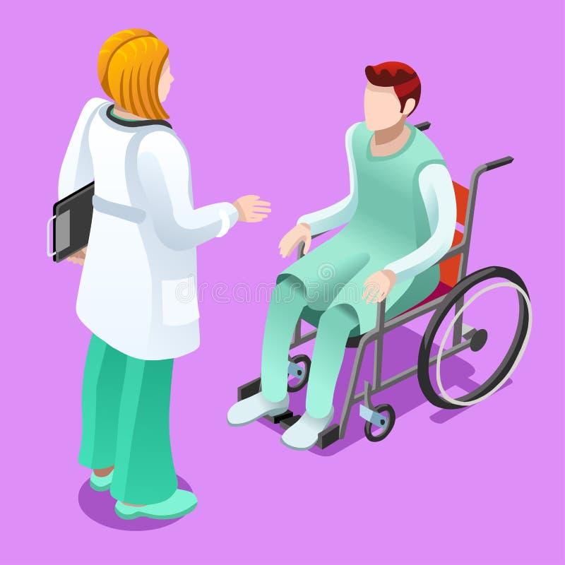 Kliniki Doktorski Opowiadać z Cierpliwymi Wektorowymi Isometric ludźmi ilustracji