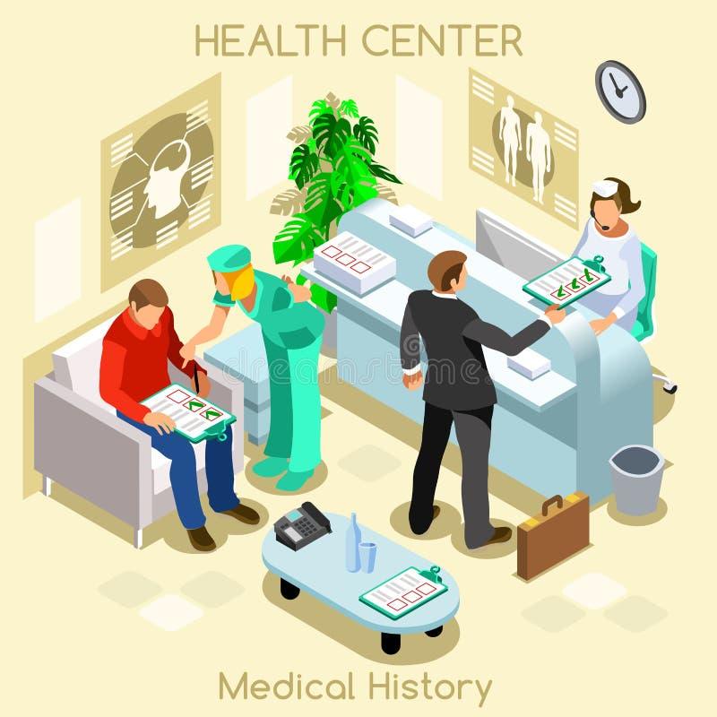 Kliniki medycznej historii cierpliwa poczekalnia przed medyczną wizytą Szpitalnej kliniki pacjentów recepcyjny czekać medyczny ko royalty ilustracja