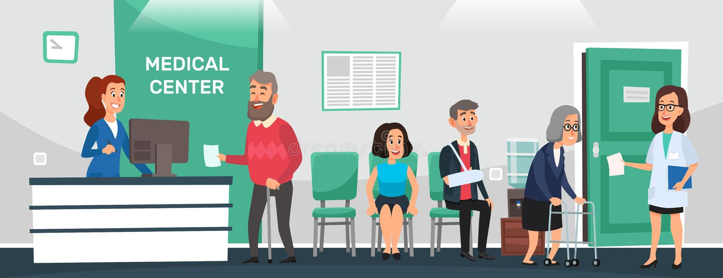 Klinikmottagande Sjukhuspatienter, väntande rum för doktor och vektor för tecknad film för medicinsk vård för folkväntandoktorer stock illustrationer