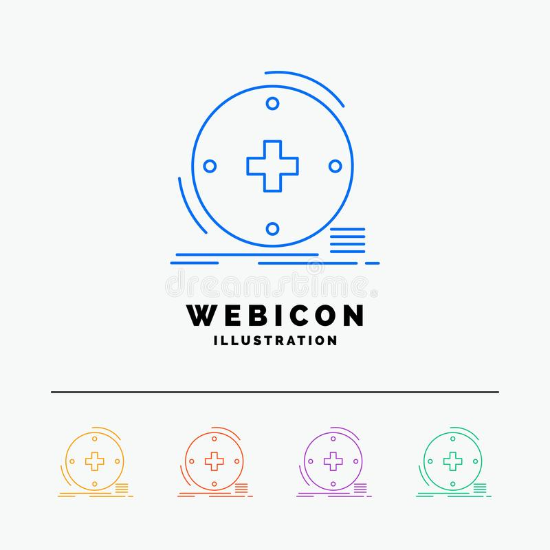 Klinisch, digital, Gesundheit, Gesundheitswesen, Fernmedizin 5 Farblinie-Netz-Ikonen-Schablone lokalisiert auf Weiß Auch im corel lizenzfreie abbildung