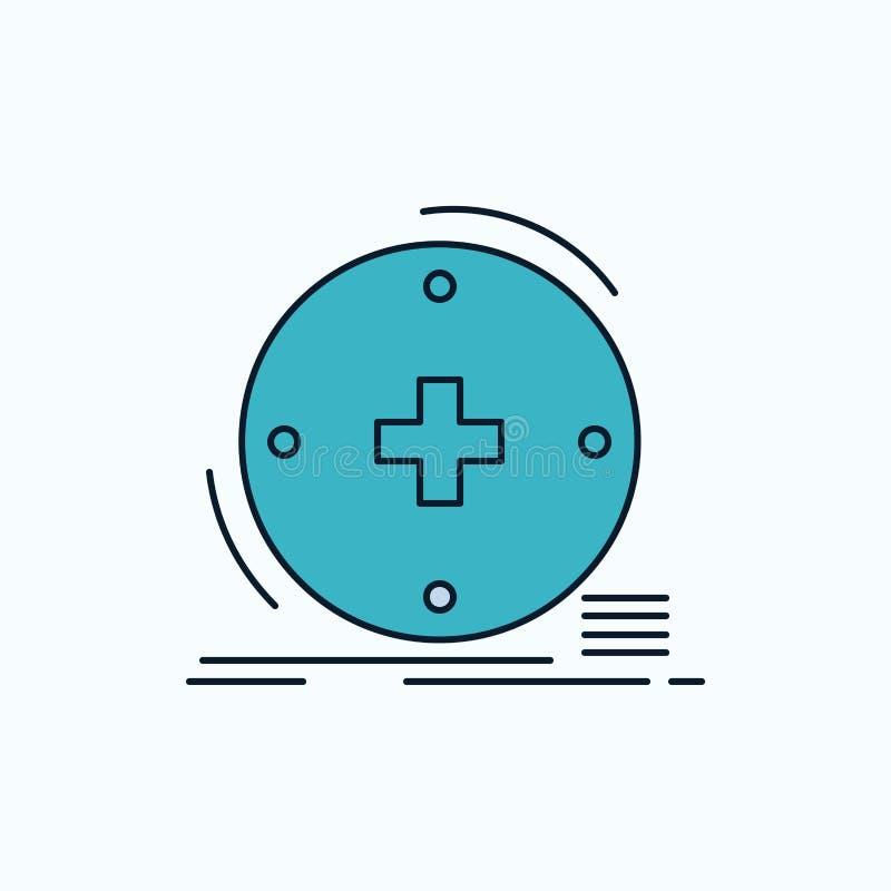 Klinisch, digital, Gesundheit, Gesundheitswesen, Fernmedizin flache Ikone r stock abbildung