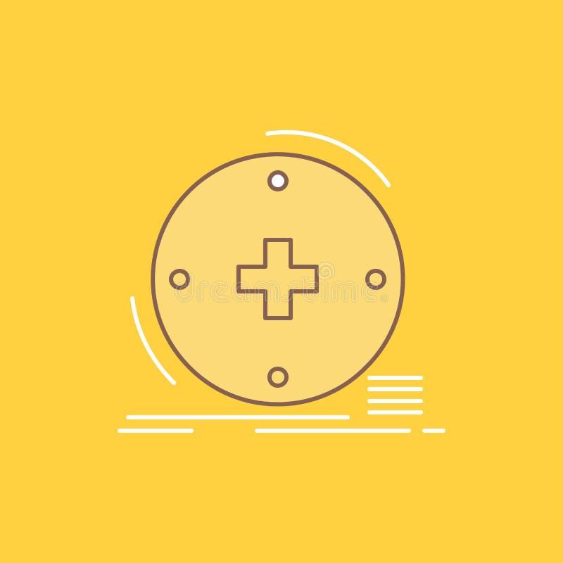 Klinisch, digital, Gesundheit, Gesundheitswesen, Fernmedizin flache Linie füllte Ikone Sch?ner Logoknopf ?ber gelbem Hintergrund  vektor abbildung