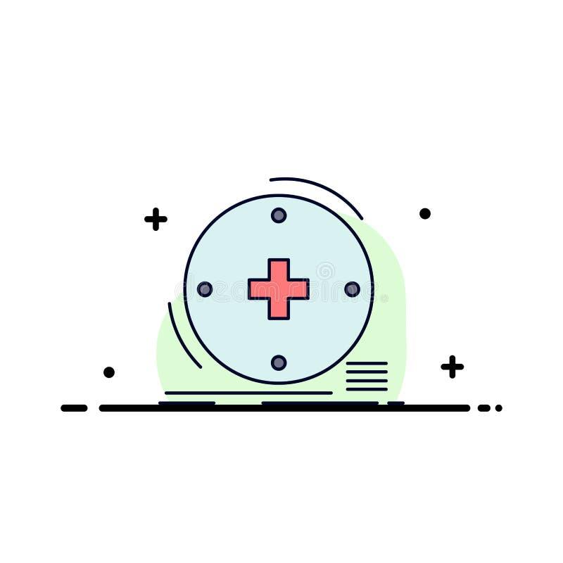 Klinisch, digital, Gesundheit, Gesundheitswesen, Fernmedizin flacher Farbikonen-Vektor vektor abbildung