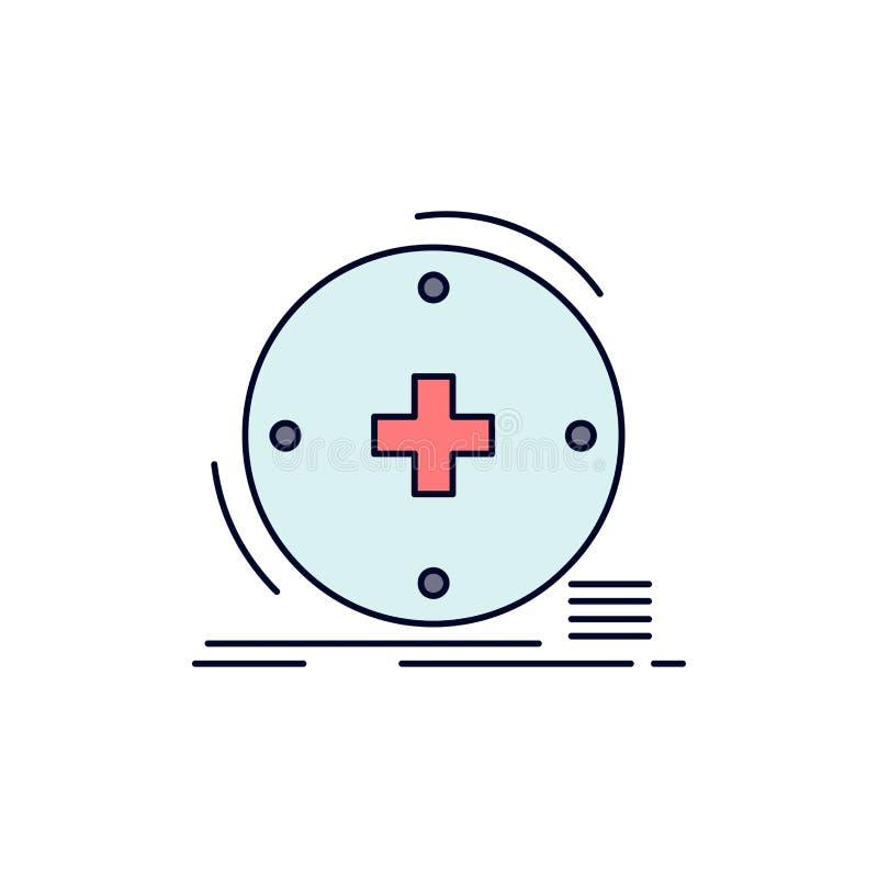 Klinisch, digital, Gesundheit, Gesundheitswesen, Fernmedizin flacher Farbikonen-Vektor lizenzfreie abbildung