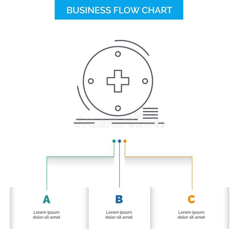 Klinisch, digital, Gesundheit, Gesundheitswesen, Fernmedizin Geschäfts-Flussdiagramm-Entwurf mit 3 Schritten Linie Ikone f?r Dars lizenzfreie abbildung
