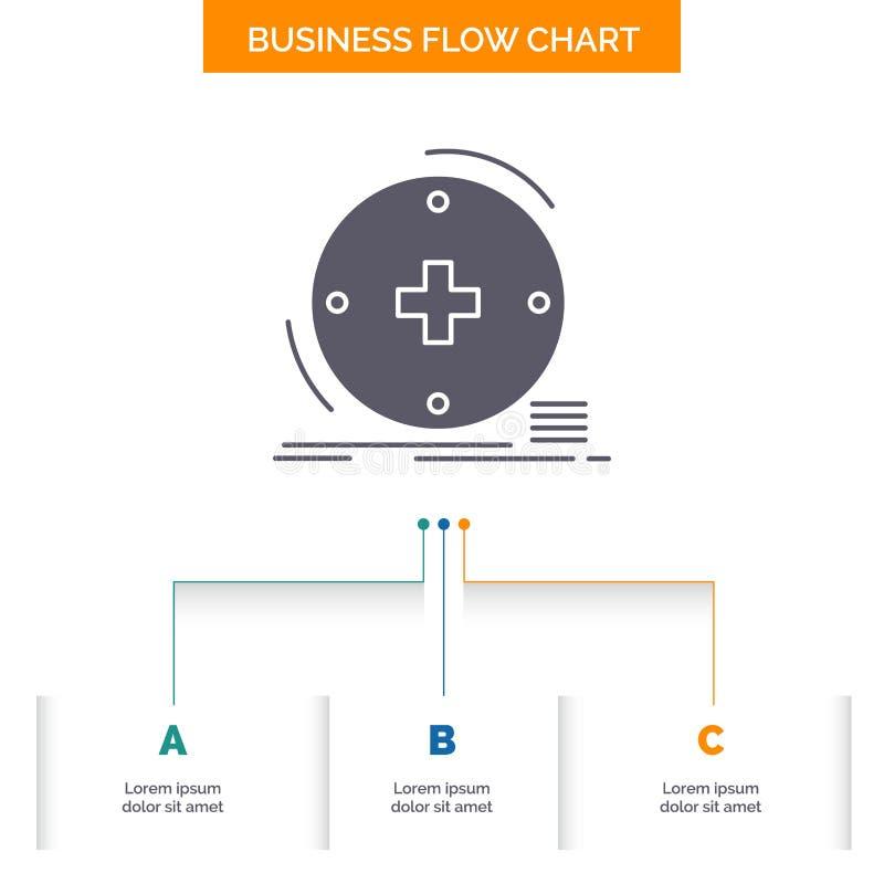 Klinisch, digital, Gesundheit, Gesundheitswesen, Fernmedizin Gesch?fts-Flussdiagramm-Entwurf mit 3 Schritten r lizenzfreie abbildung