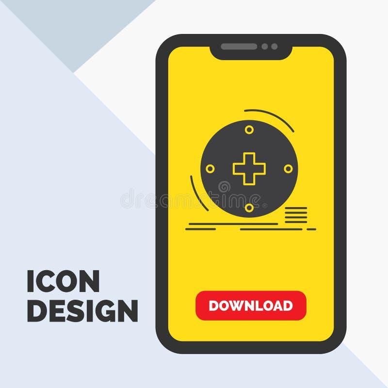 Klinisch, digital, Gesundheit, Gesundheitswesen, Fernmedizin Glyph-Ikone im Mobile für Download-Seite Gelber Hintergrund stock abbildung
