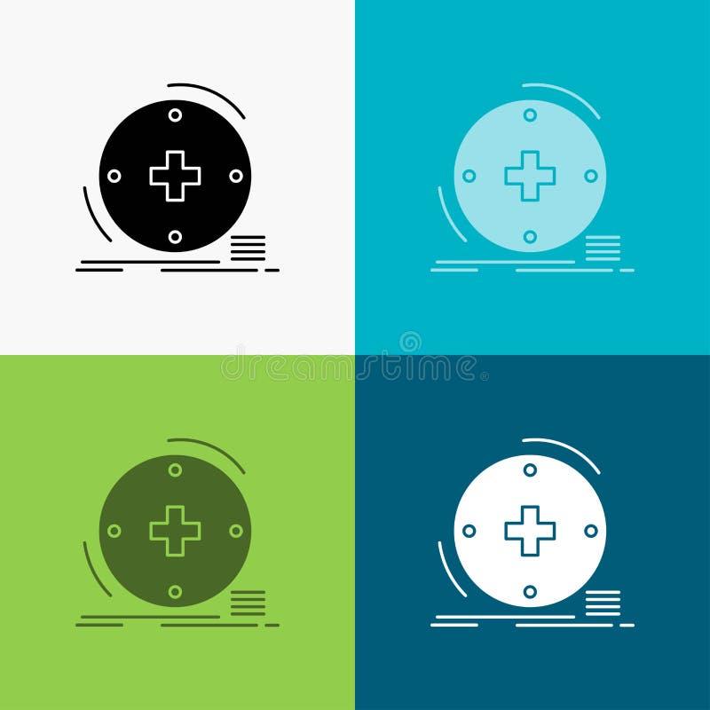 Klinisch, digital, Gesundheit, Gesundheitswesen, Fernmedizin Ikone über verschiedenem Hintergrund Glyphartdesign, bestimmt f?r Ne lizenzfreie abbildung