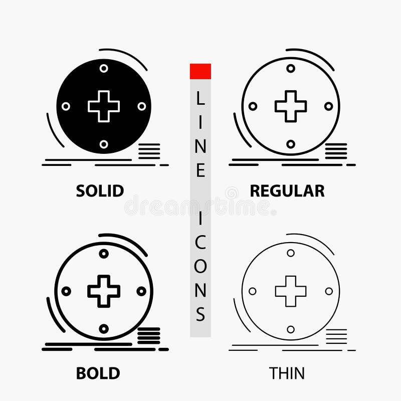 Klinisch, digital, Gesundheit, Gesundheitswesen, Fernmedizin Ikone in der dünnen, regelmäßigen, mutigen Linie und in der Glyph-Ar stock abbildung