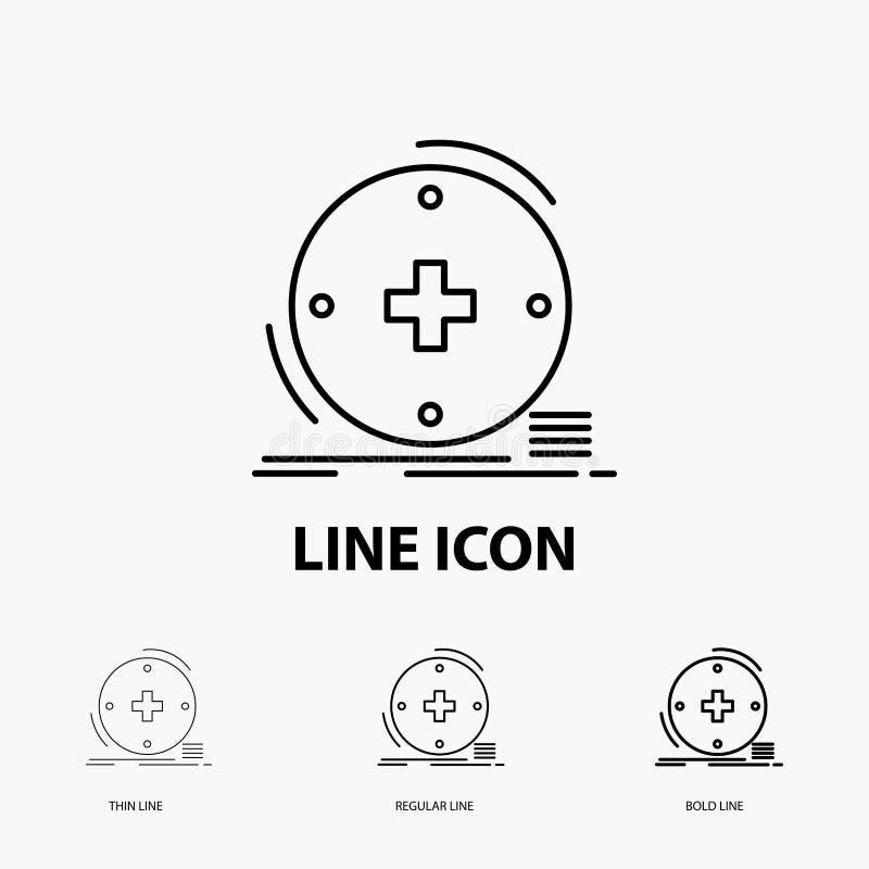 Klinisch, digital, Gesundheit, Gesundheitswesen, Fernmedizin Ikone in der dünnen, regelmäßigen und mutigen Linie Art Auch im core vektor abbildung