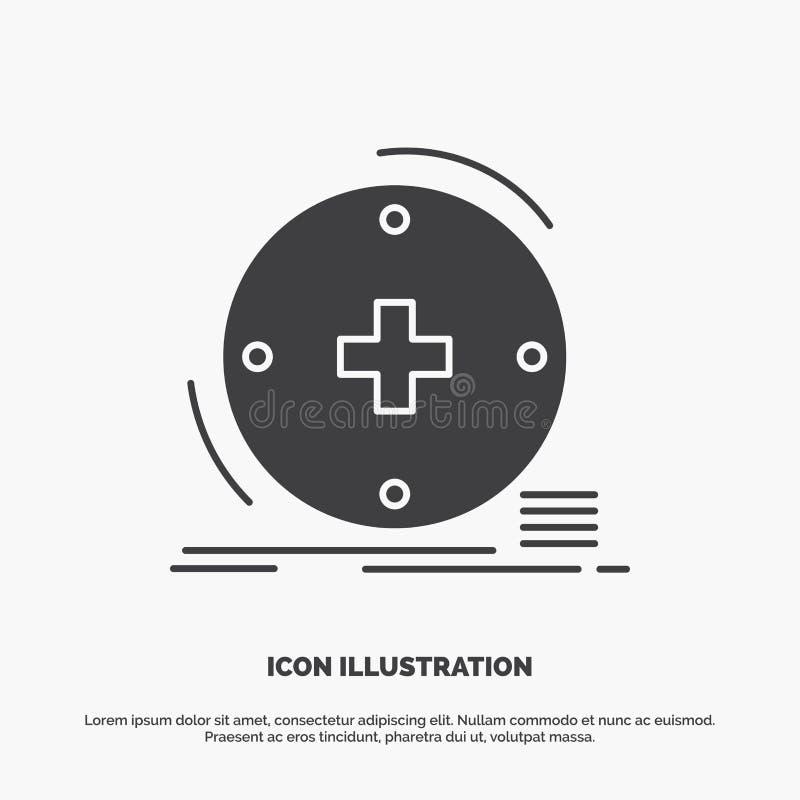 Klinisch, digital, Gesundheit, Gesundheitswesen, Fernmedizin Ikone graues Symbol des Glyphvektors f?r UI und UX, Website oder bew stock abbildung