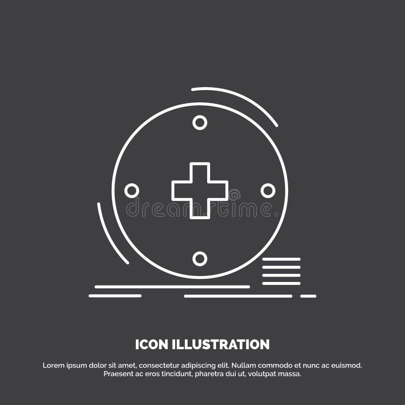 Klinisch, digital, Gesundheit, Gesundheitswesen, Fernmedizin Ikone Linie Vektorsymbol f?r UI und UX, Website oder bewegliche Anwe vektor abbildung