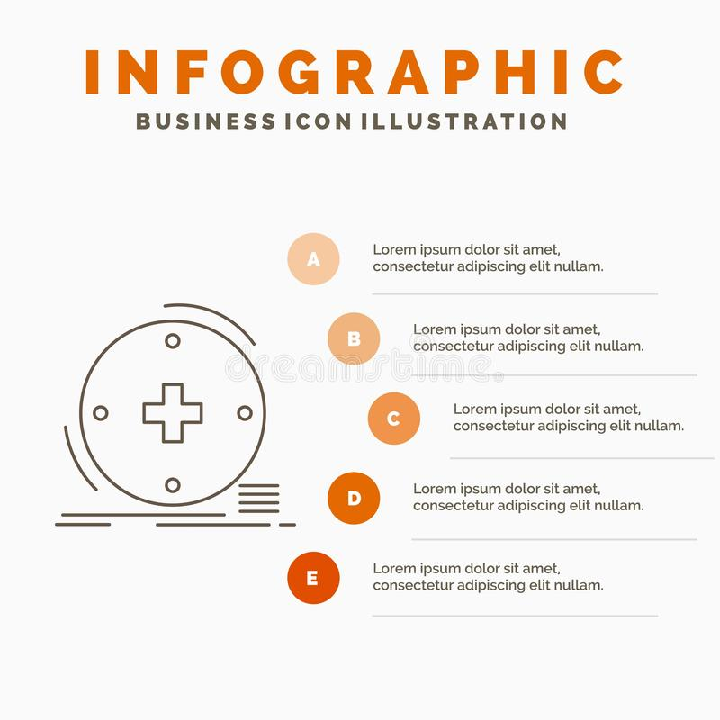 Klinisch, digital, Gesundheit, Gesundheitswesen, Fernmedizin Infographics-Schablone f?r Website und Darstellung Linie graue Ikone stock abbildung