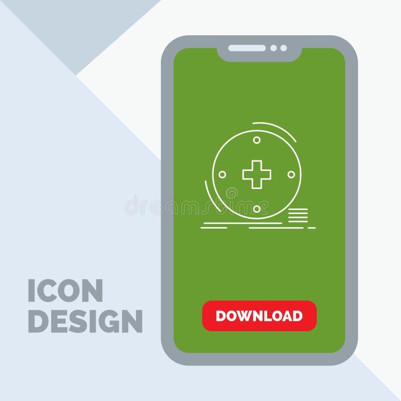 Klinisch, digital, Gesundheit, Gesundheitswesen, Fernmedizin Linie Ikone im Mobile für Download-Seite lizenzfreie abbildung