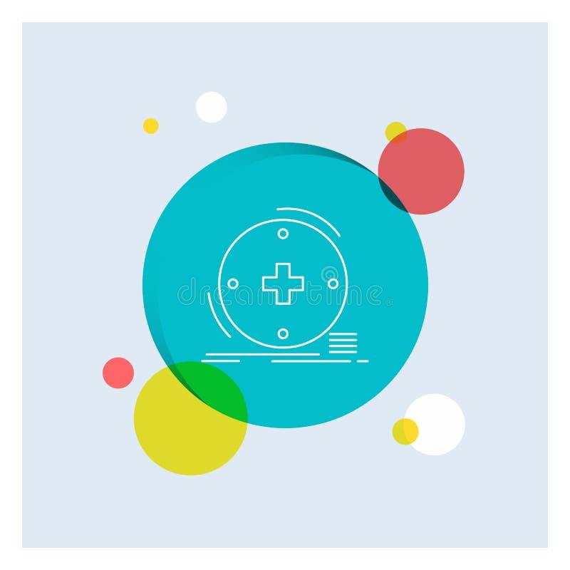 Klinisch, digital, Gesundheit, Gesundheitswesen, Fernmedizin weiße Linie Ikonen-bunter Kreis-Hintergrund lizenzfreie abbildung