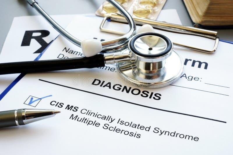 Klinisch geïsoleerde Mej.diagnose van de GOS van de syndroom multiple sclerose stock fotografie