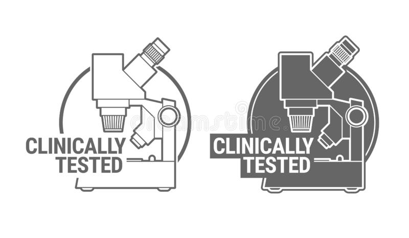 Klinisch geprüftes Zeichen- oder Stempelsymbol lizenzfreie abbildung