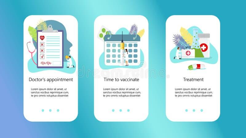 Klinisk mitt, online-apotek, tid att vaccinera vektor illustrationer