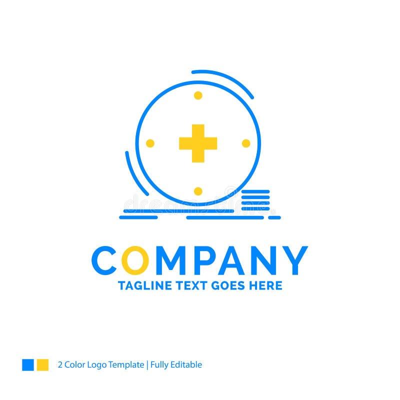 Kliniskt digitalt, vård-, sjukvård, blå guling för telemedicine royaltyfri illustrationer