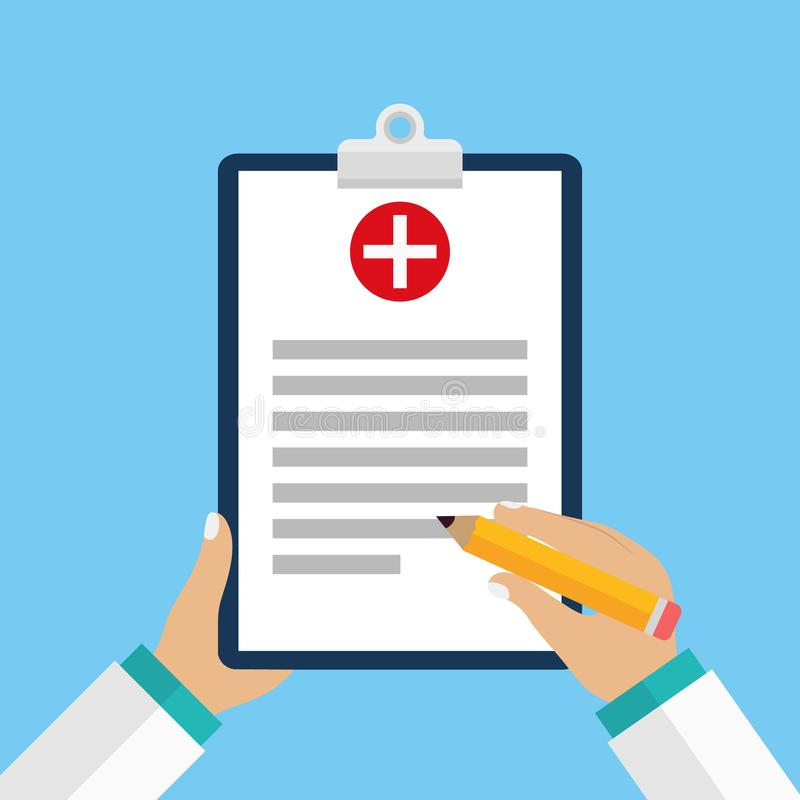 Kliniskt rekord, recept, rapport för medicinsk undersökning, sjukförsäkringbegrepp Skrivplatta med kontrollistan och det medicins royaltyfri illustrationer