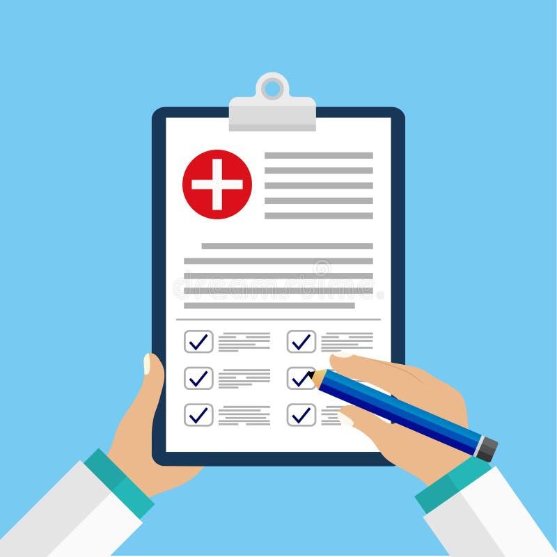 Kliniskt rekord, recept, rapport för medicinsk undersökning, sjukförsäkringbegrepp Skrivplatta med kontrollistan och det medicins vektor illustrationer