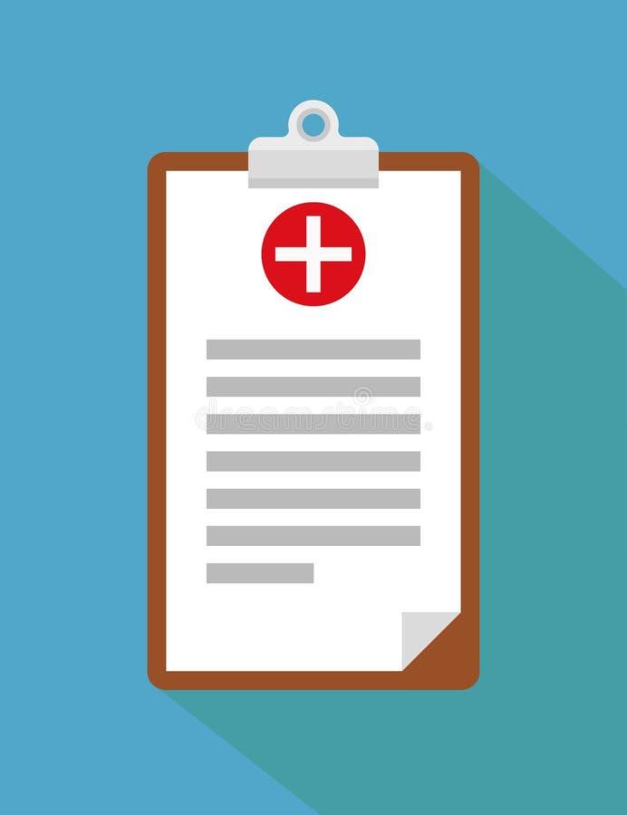 Kliniskt rekord, recept, rapport för medicinsk undersökning, sjukförsäkringbegrepp Skrivplatta med kontrollistan och medicinskt k stock illustrationer
