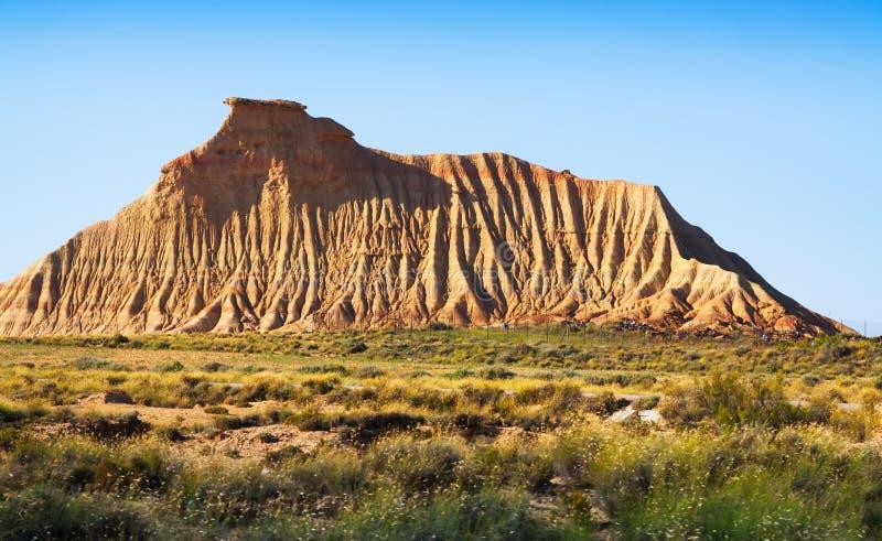 Klip bij semi-desert landschap van Navarra royalty-vrije stock fotografie
