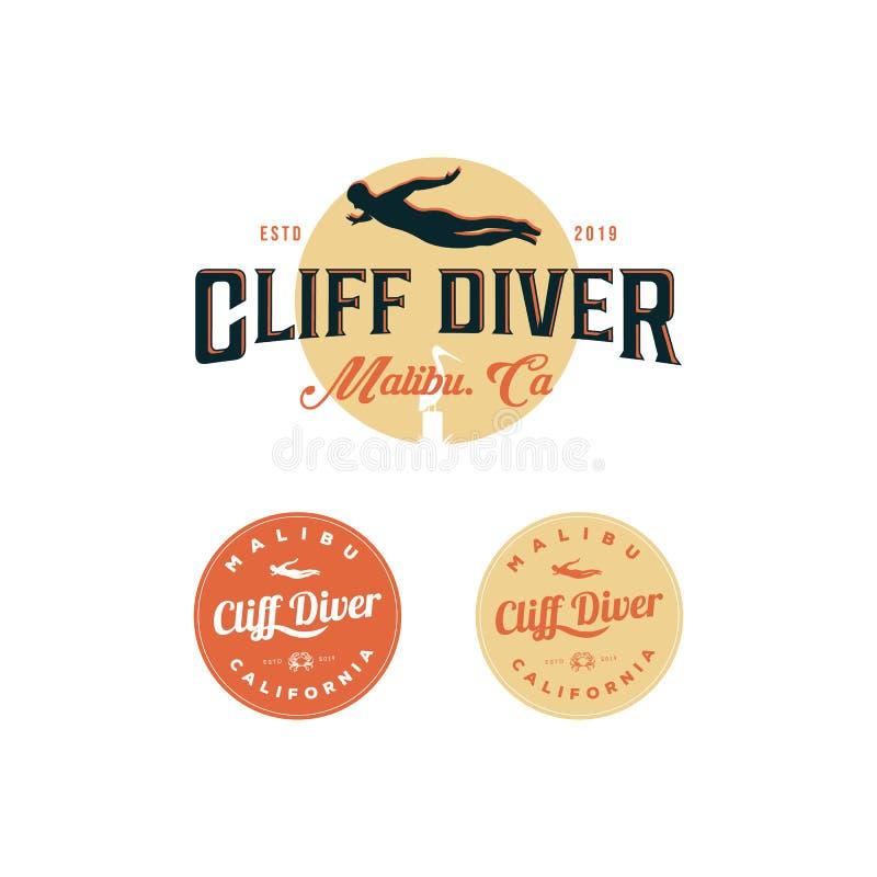 Klip het duiken embleeminspiraties, t-shirt, restaurant vector illustratie