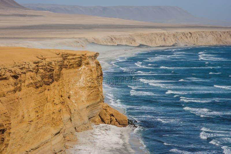 Klip over de Vreedzame Oceaan Paracas, Peru stock afbeeldingen
