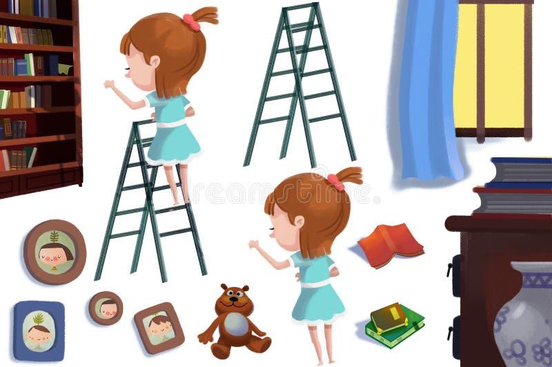 Klipp Art Set: Die Bibliotheks-Gegenstände: Mädchen auf der Buch-Regal-Leiter, Bücher, Foto-Rahmen vektor abbildung