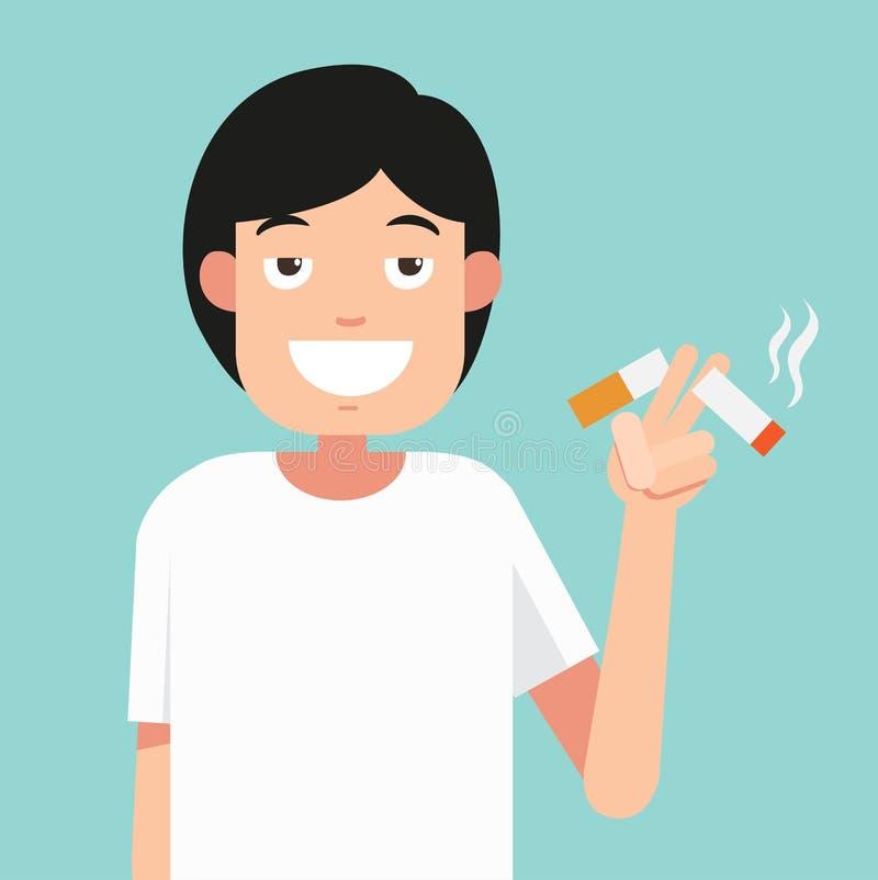 Klipp cigaretter, begreppet för anti-röka, illustration vektor illustrationer
