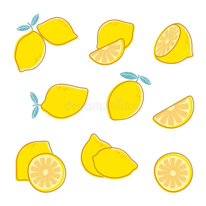 klipp citronen citrus ny frukt Citronskiva och sidor Vektorsamling som isoleras på vit bakgrund stock illustrationer