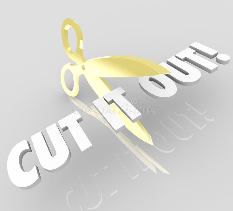 Klipp det uttrycker ut sax som stoppet förminskar att klippa kostnader royaltyfri illustrationer