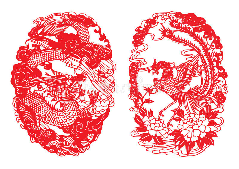 klipp draken paper phoenix royaltyfri illustrationer